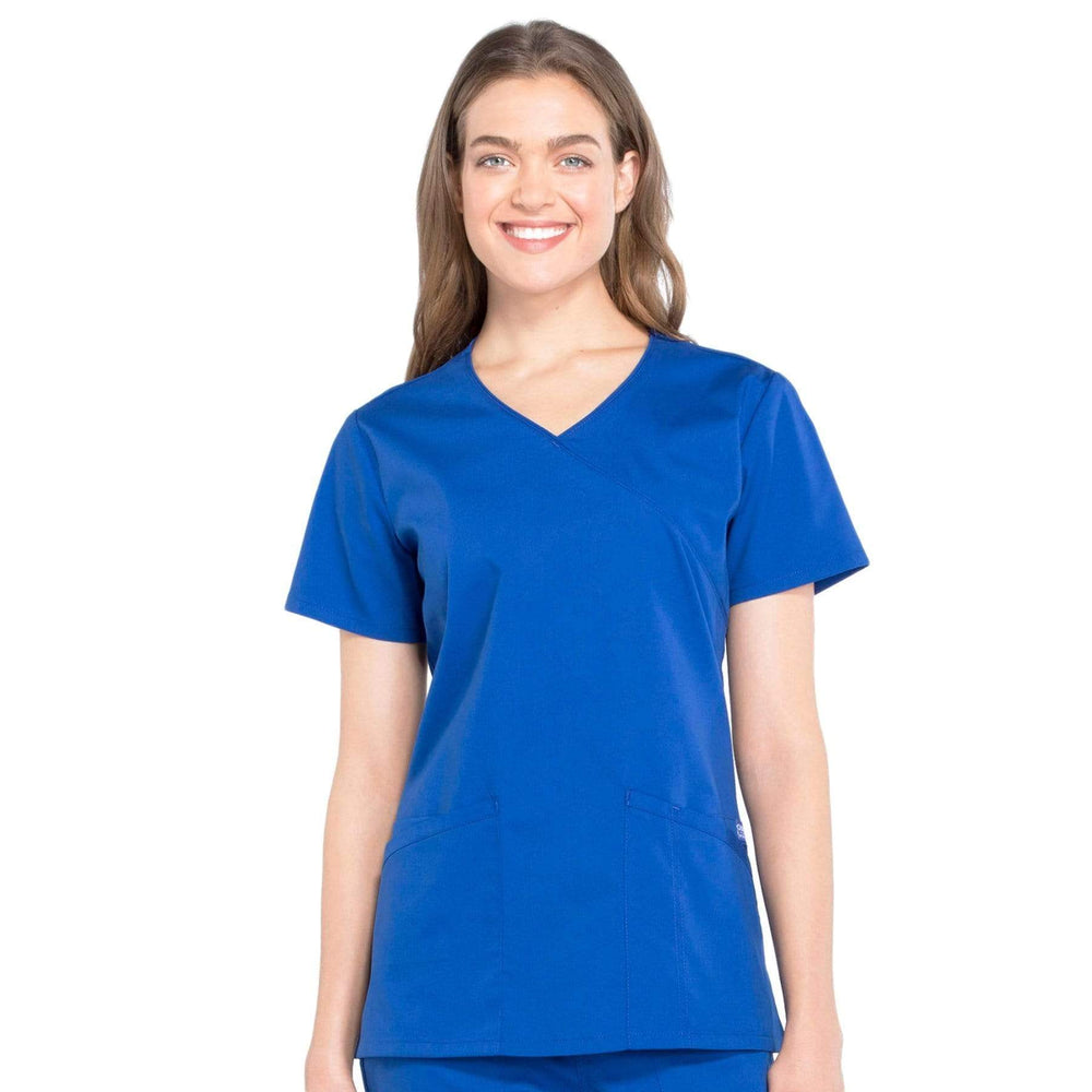 Cherokee Scrubs Top 2XL Cherokee Workwear Professionals WW655 Scrubs Top Women's Mock Wrap Galaxy Blue