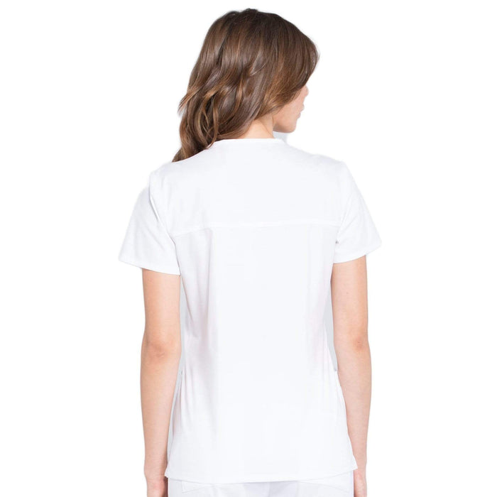 Cherokee Scrubs Top Cherokee Workwear Professionals WW655 Scrubs Top Women's Mock Wrap White