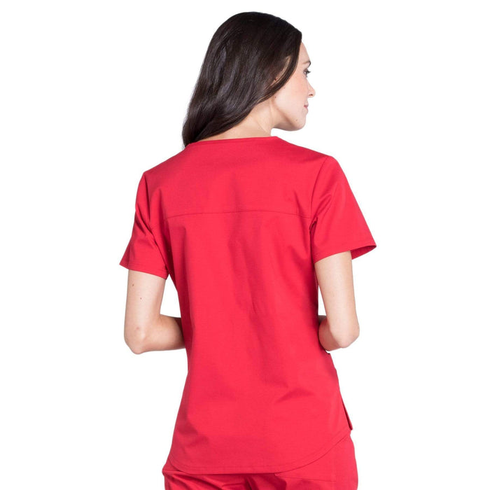 Cherokee Scrubs Top Cherokee Workwear Professionals WW665 Scrubs Top Women's V-Neck Red