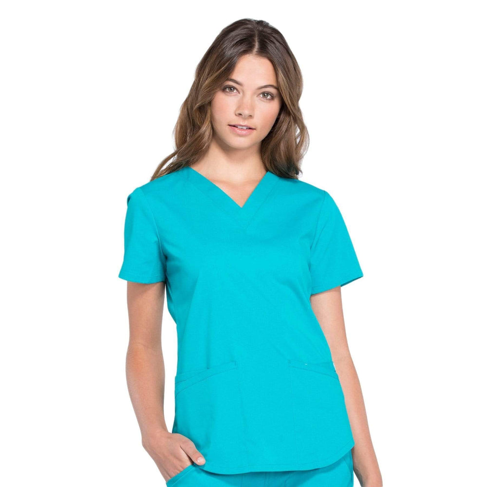 Cherokee Scrubs Top 2XL Cherokee Workwear Professionals WW665 Scrubs Top Women's V-Neck Teal Blue