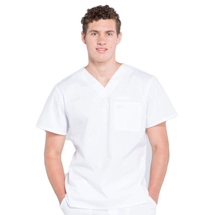 Cherokee Scrubs Top 2XL Cherokee Workwear Professionals WW675 Scrubs Top Men's V-Neck White
