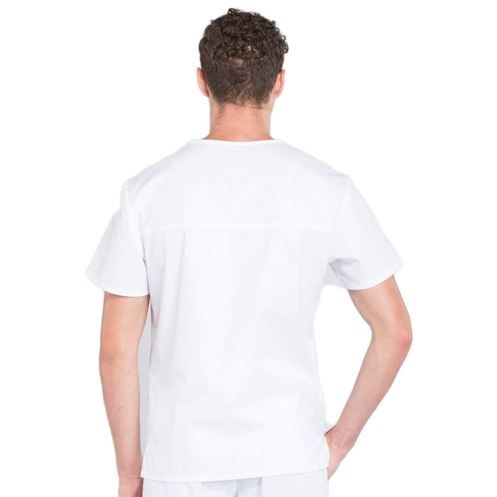 Cherokee Scrubs Top Cherokee Workwear Professionals WW675 Scrubs Top Men's V-Neck White
