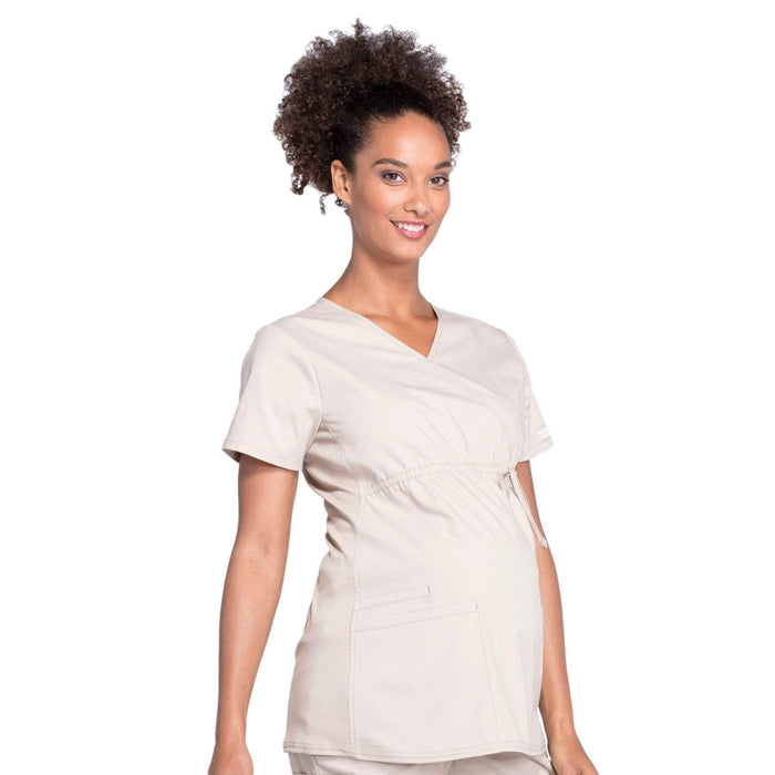 Cherokee Scrubs Top Cherokee Workwear Professionals WW685 Scrubs Top Maternity Mock Wrap Khaki
