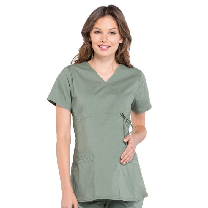 Cherokee Scrubs Top 2XL Cherokee Workwear Professionals WW685 Scrubs Top Maternity Mock Wrap Olive