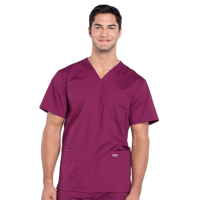 Cherokee Scrubs Top 2XL / Regular Cherokee Workwear Professionals WW695 Scrubs Top Men's V-Neck Wine