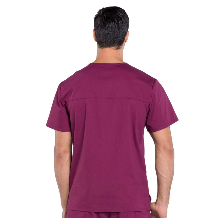 Cherokee Scrubs Top Cherokee Workwear Professionals WW695 Scrubs Top Men's V-Neck Wine