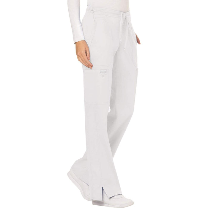 Cherokee Scrubs Pants Cherokee Workwear Revolution WW120 Scrubs Pants Women's Mid Rise Flare Drawstring White