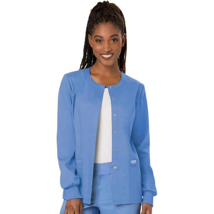 Cherokee Scrubs Jacket Cherokee Workwear Revolution WW310 Scrubs Jacket Women's Snap Front Warm-up Ceil Blue