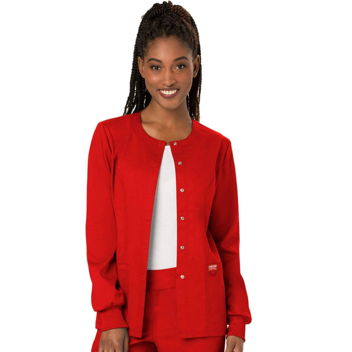 Cherokee Scrubs Jacket 2XL Cherokee Workwear Revolution WW310 Scrubs Jacket Women's Snap Front Warm-up Red