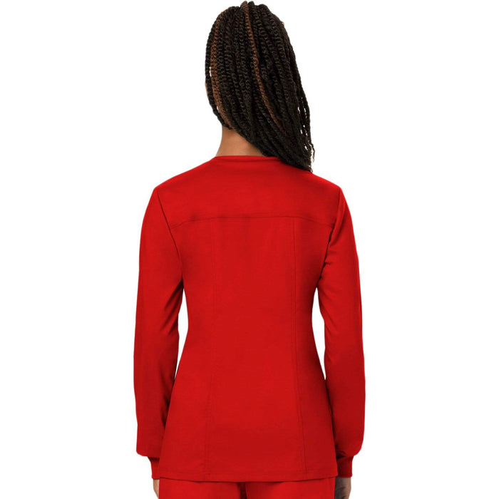 Cherokee Scrubs Jacket Cherokee Workwear Revolution WW310 Scrubs Jacket Women's Snap Front Warm-up Red