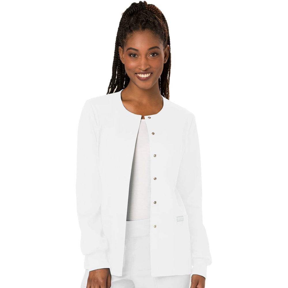 Cherokee Scrubs Jacket Cherokee Workwear Revolution WW310 Scrubs Jacket Women's Snap Front Warm-up White