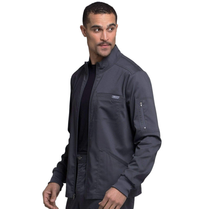 Cherokee Scrubs Jacket Cherokee Workwear Revolution WW320 Scrubs Jacket Men's Zip Front Pewter