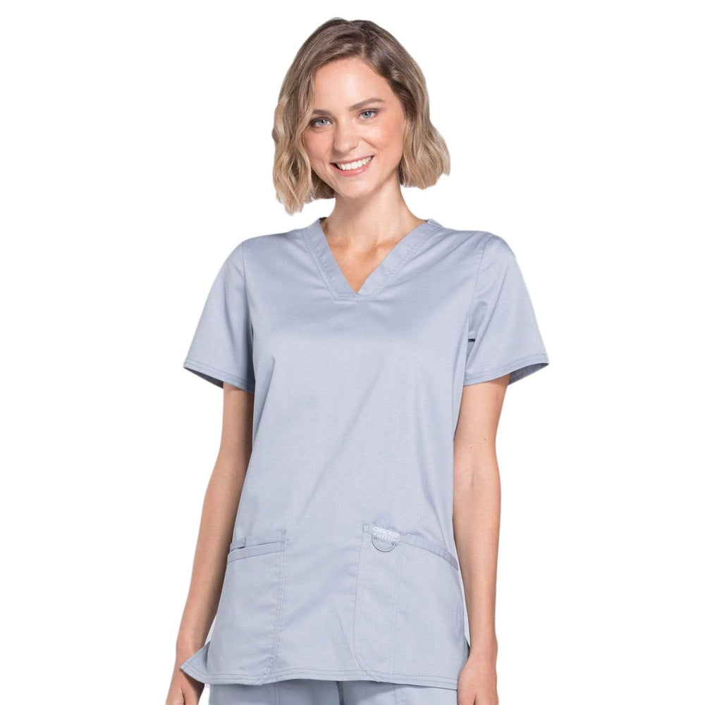 Cherokee Scrubs Top Cherokee Workwear Revolution WW620 Scrubs Top Women's V-Neck Grey