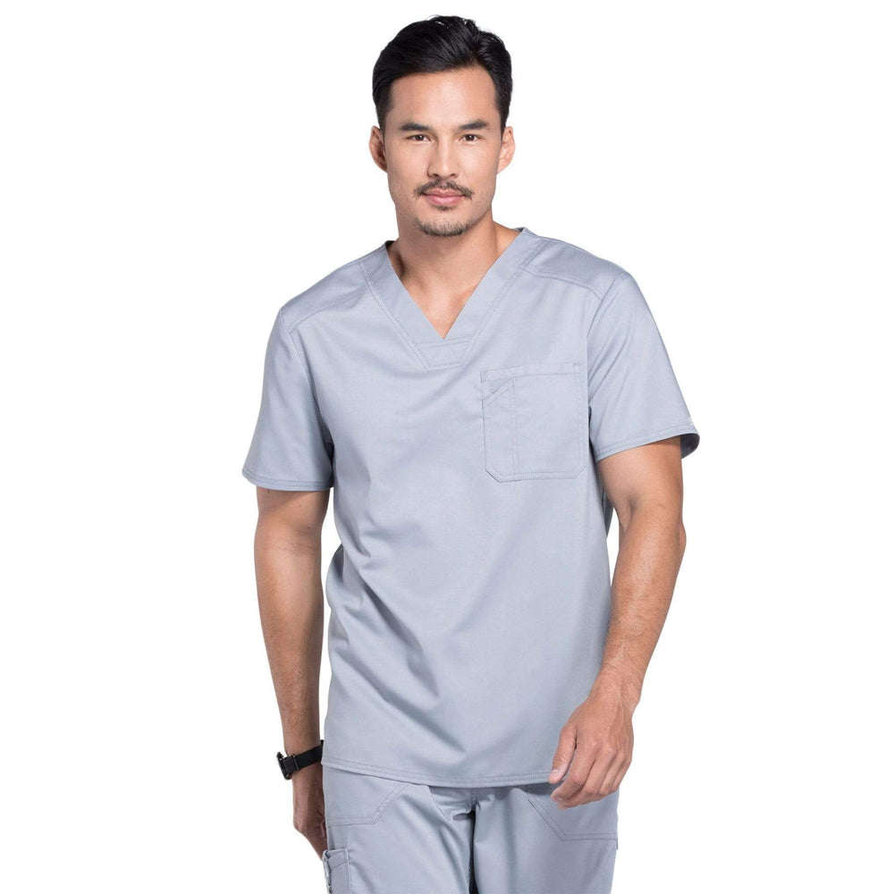 Cherokee Scrubs Top 2XL Cherokee Workwear Revolution WW690 Scrubs Top Men's V-Neck Grey