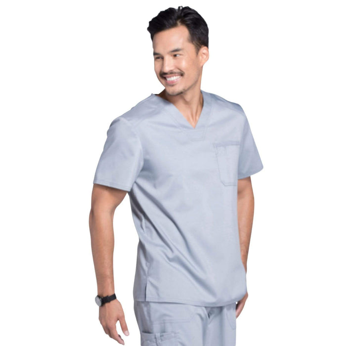 Cherokee Scrubs Top Cherokee Workwear Revolution WW690 Scrubs Top Men's V-Neck Grey