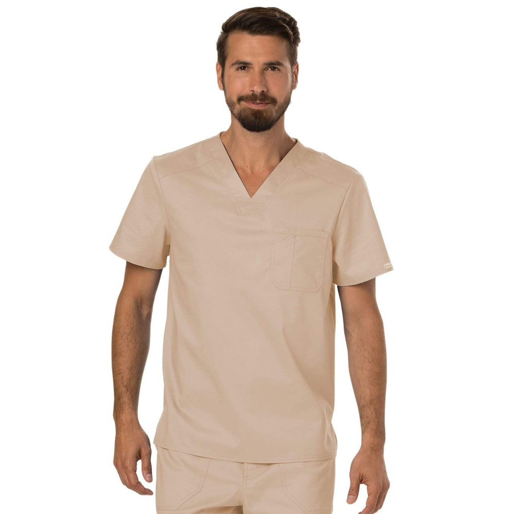 Cherokee Scrubs Top 2XL Cherokee Workwear Revolution WW690 Scrubs Top Men's V-Neck Khaki