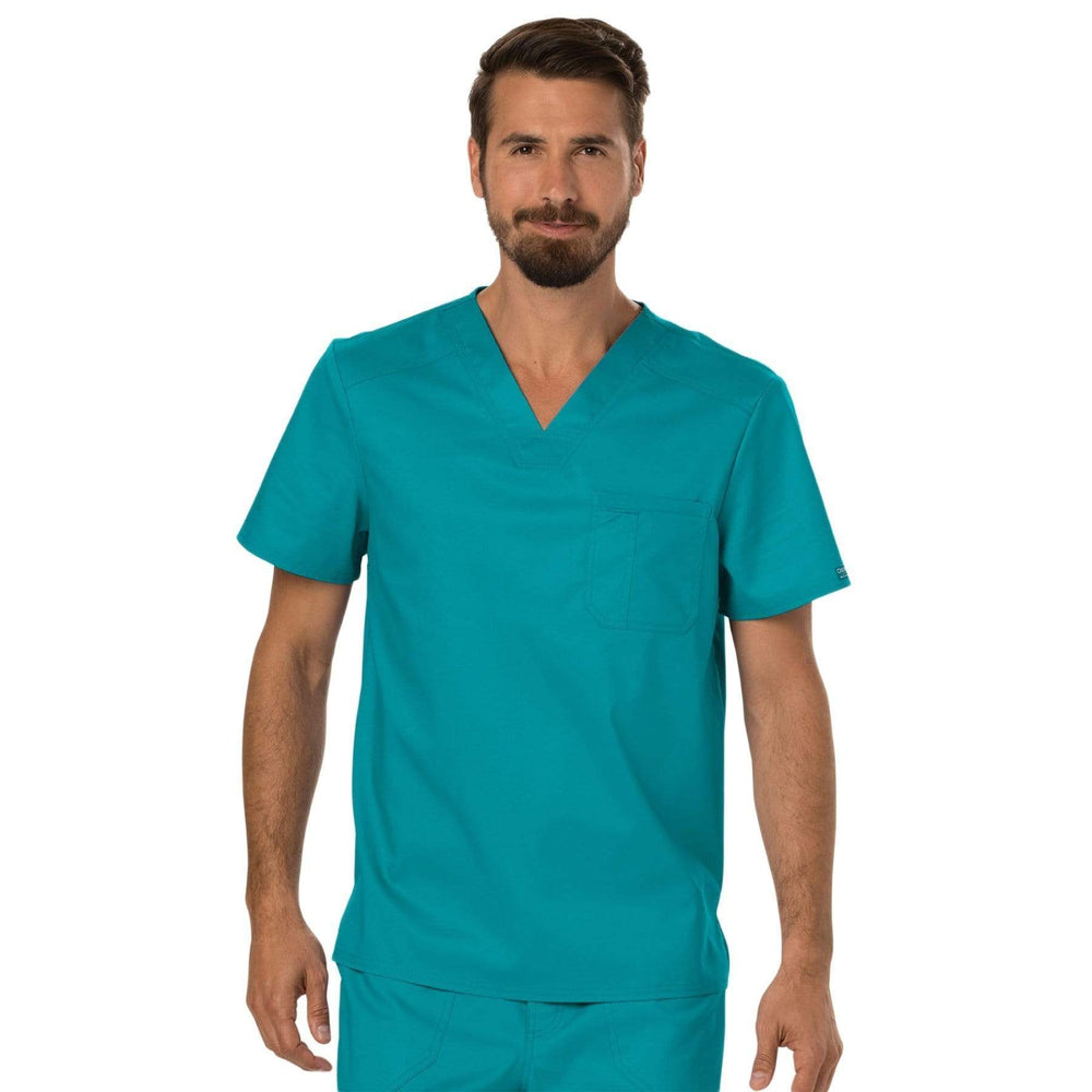 Cherokee Scrubs Top 2XL Cherokee Workwear Revolution WW690 Scrubs Top Men's V-Neck Teal Blue