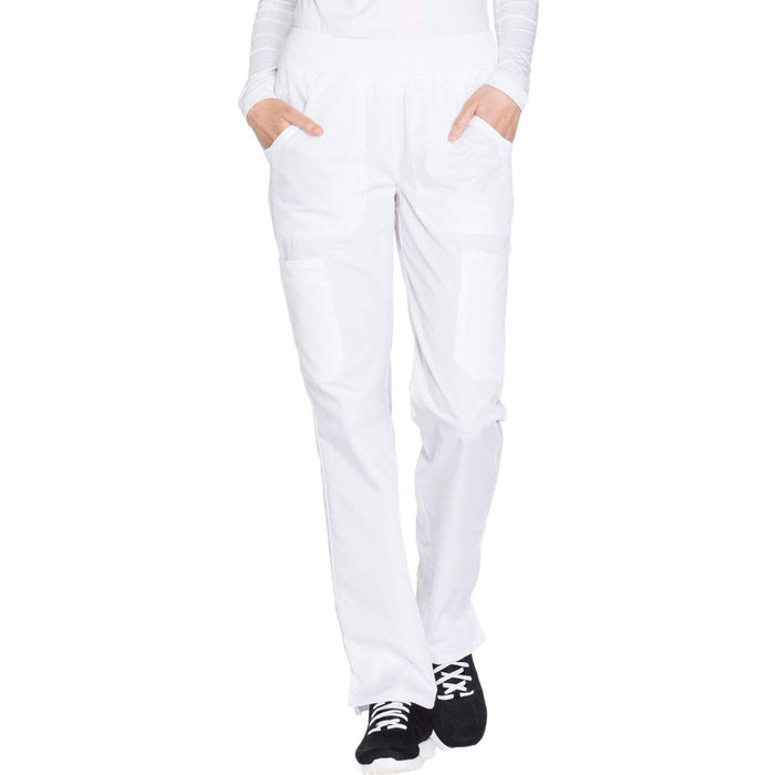 Cherokee Workwear WW210 Scrubs Pants Women's Mid Rise Straight Leg Pull-on Cargo White