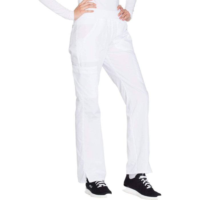 Cherokee Scrubs Pants Cherokee Workwear WW210 Scrubs Pants Women's Mid Rise Straight Leg Pull-on Cargo White
