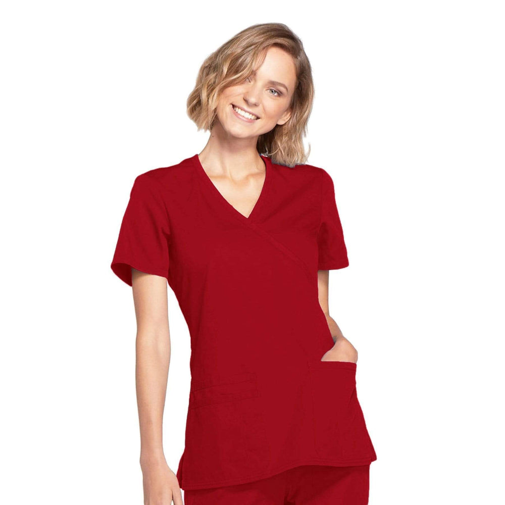 Cherokee Scrubs Top 2XL Cherokee Workwear WW650 Scrubs Top Women's Mock Wrap Red