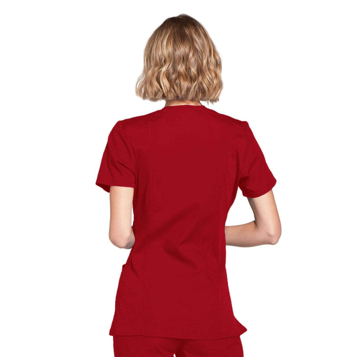 Cherokee Scrubs Top Cherokee Workwear WW650 Scrubs Top Women's Mock Wrap Red