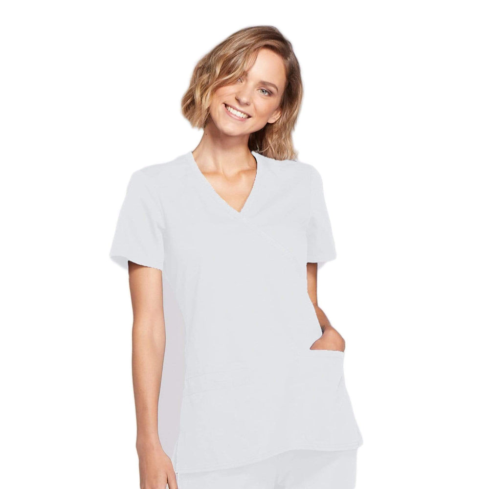 Cherokee Scrubs Top 2XL Cherokee Workwear WW650 Scrubs Top Women's Mock Wrap White