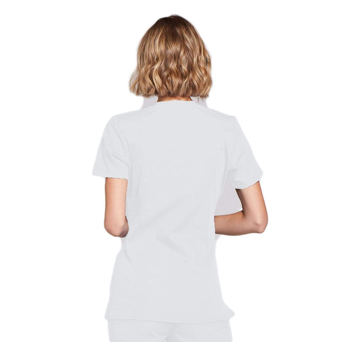 Cherokee Scrubs Top Cherokee Workwear WW650 Scrubs Top Women's Mock Wrap White