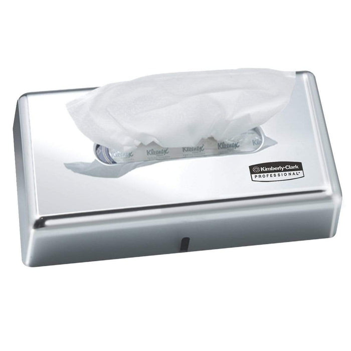 Kimberly Clark Facial Tissue Dispenser Chrome Lockable ABS Plastic / 4720 & 4725 Codes Kimberly-Clark Facial Tissue Dispenser