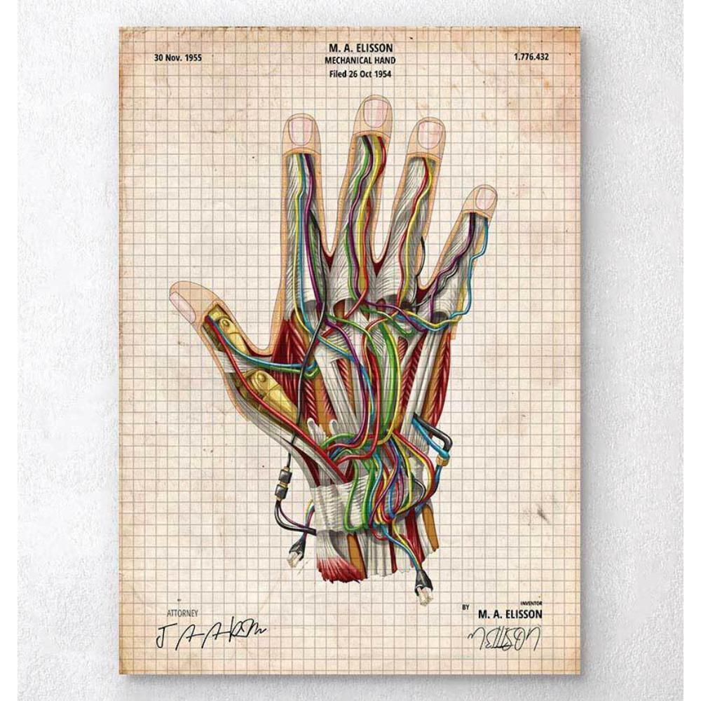 Codex Anatomicus Anatomical Print A5 Size (14.8 x 21 cm) Mechanical Hand Blueprint