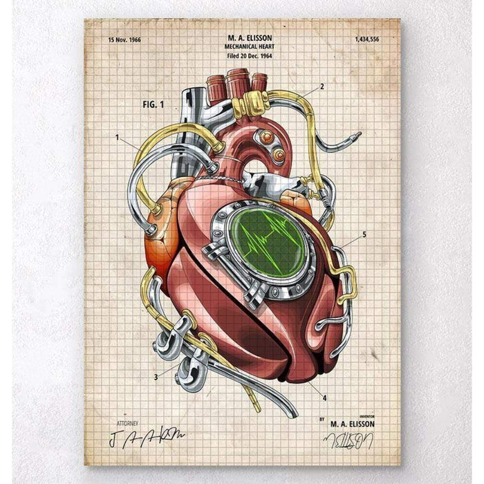 Codex Anatomicus Anatomical Print A5 Size (14.8 x 21 cm) Mechanical Heart Blueprint