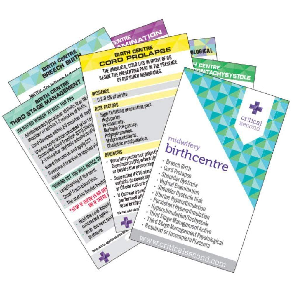 Critical Second Clinical Reference Cards Midwifery Pack - Birth Centre