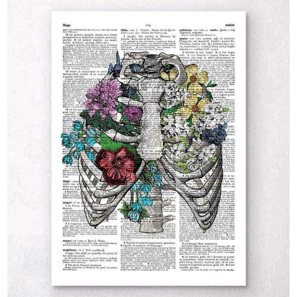 Codex Anatomicus Anatomical Print A5 Size (14.8 x 21 cm) Rib Cage With Flowers Dictionary Page