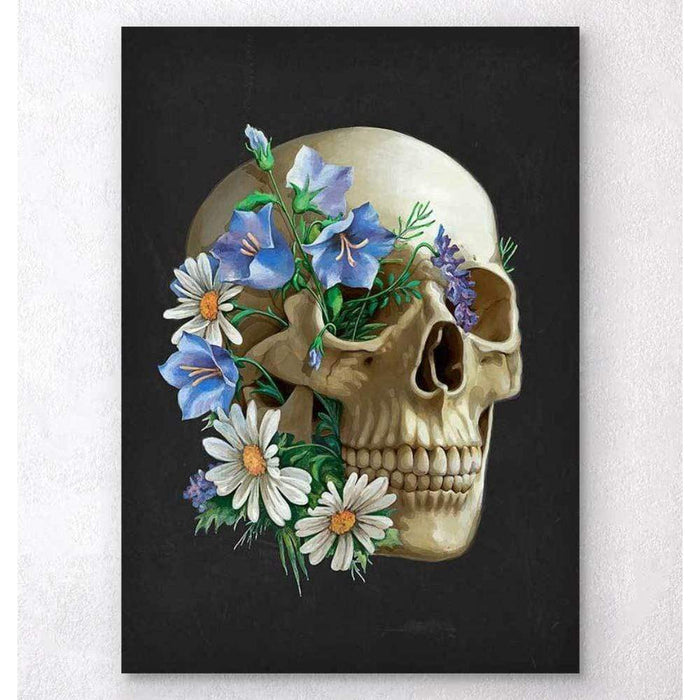 Codex Anatomicus Anatomical Print A5 Size (14.8 x 21 cm) Skull Anatomy Floral Black