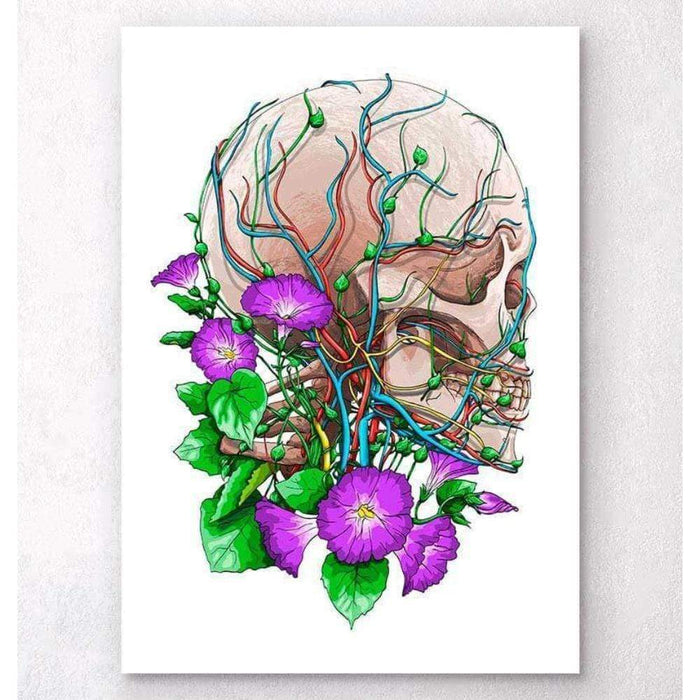 Codex Anatomicus Anatomical Print A5 Size (14.8 x 21 cm) Skull With Flowers