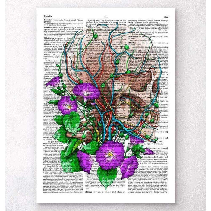 Codex Anatomicus Anatomical Print A5 Size (14.8 x 21 cm) Skull With Flowers Dictionary Page