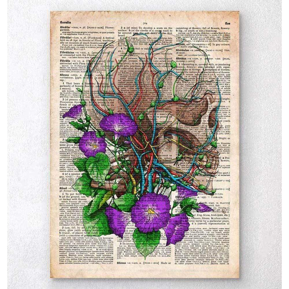 Codex Anatomicus Anatomical Print A5 Size (14.8 x 21 cm) Skull With Flowers Old Dictionary Page