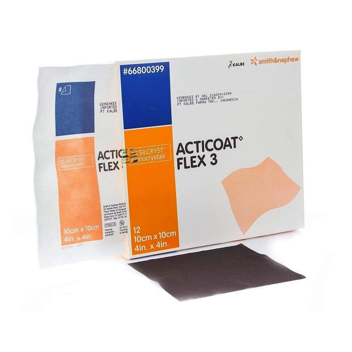 Smith & Nephew Antimicrobial Barrier Dressing 10x10cm / Box12 Smith & Nephew Acticoat Flex 3 Antimicrobial Silver Dressing