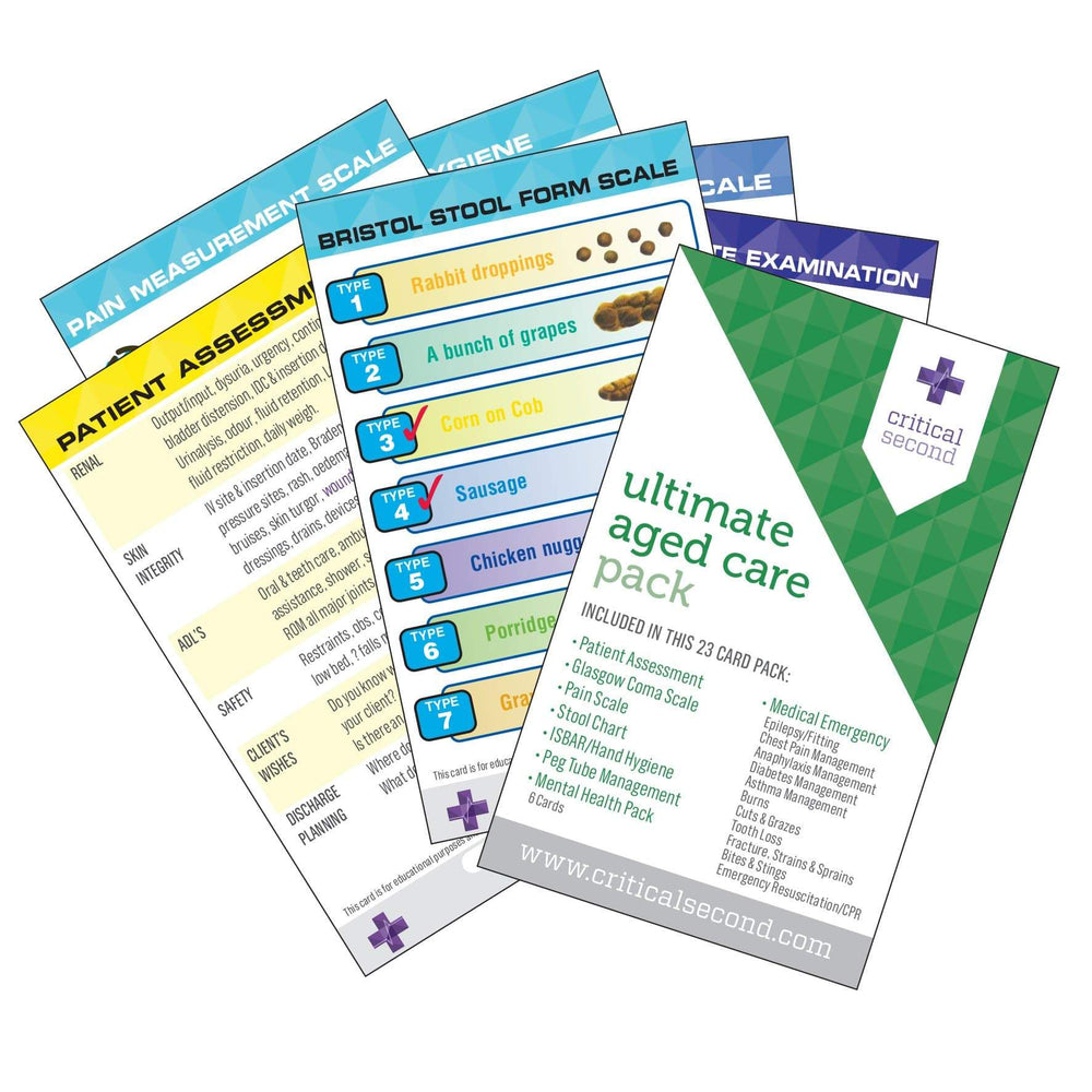 Critical Second Clinical Reference Cards Ultimate Aged Care Pack - Education Cards