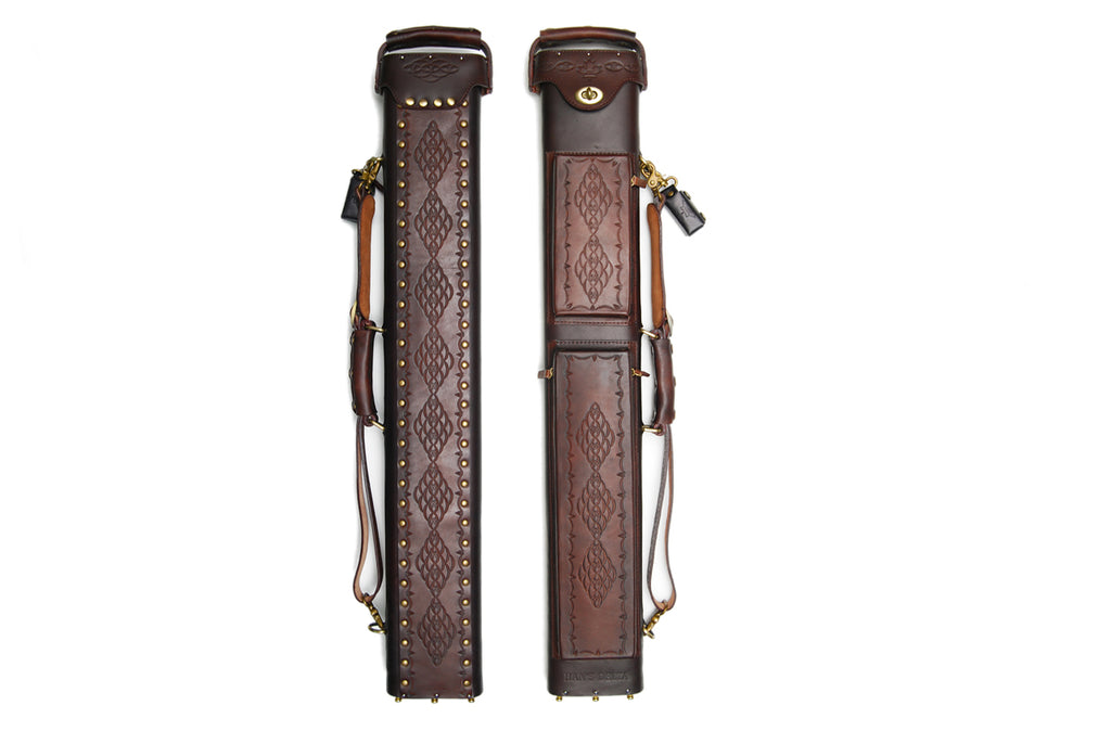 Delta Genuine Leather 2x5 Hand Tooled Case - Brown