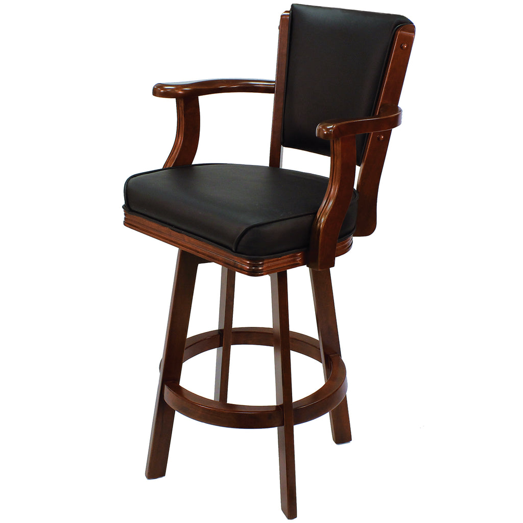 SWIVEL BARSTOOL WITH ARMS-ENGLISH TUDOR