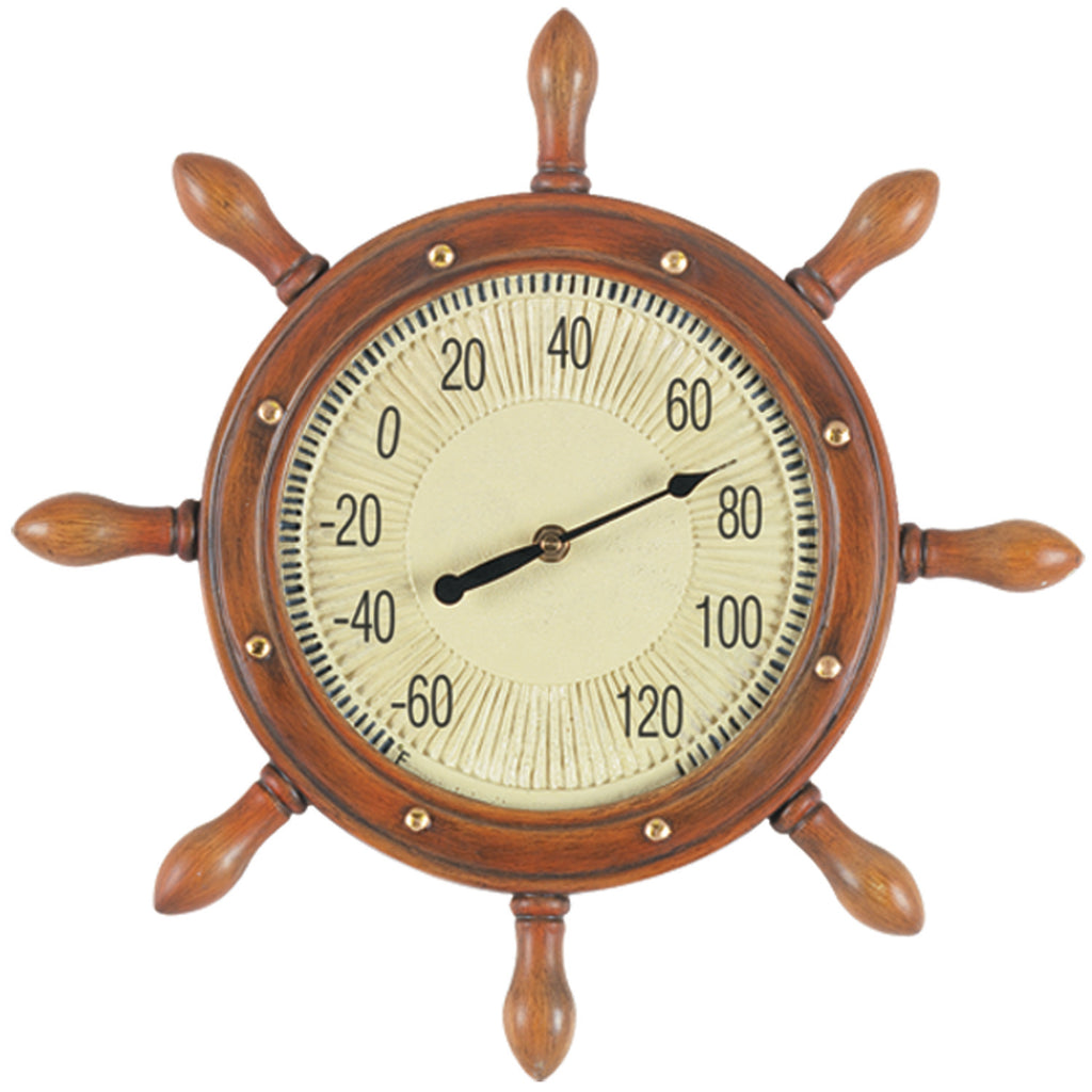"16"" W CAPTAINS WHEEL THERMOMETER"