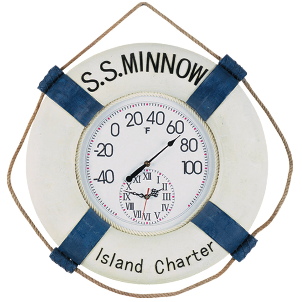 "22"" W SS MINOW THERMOMETER & CLOCK"