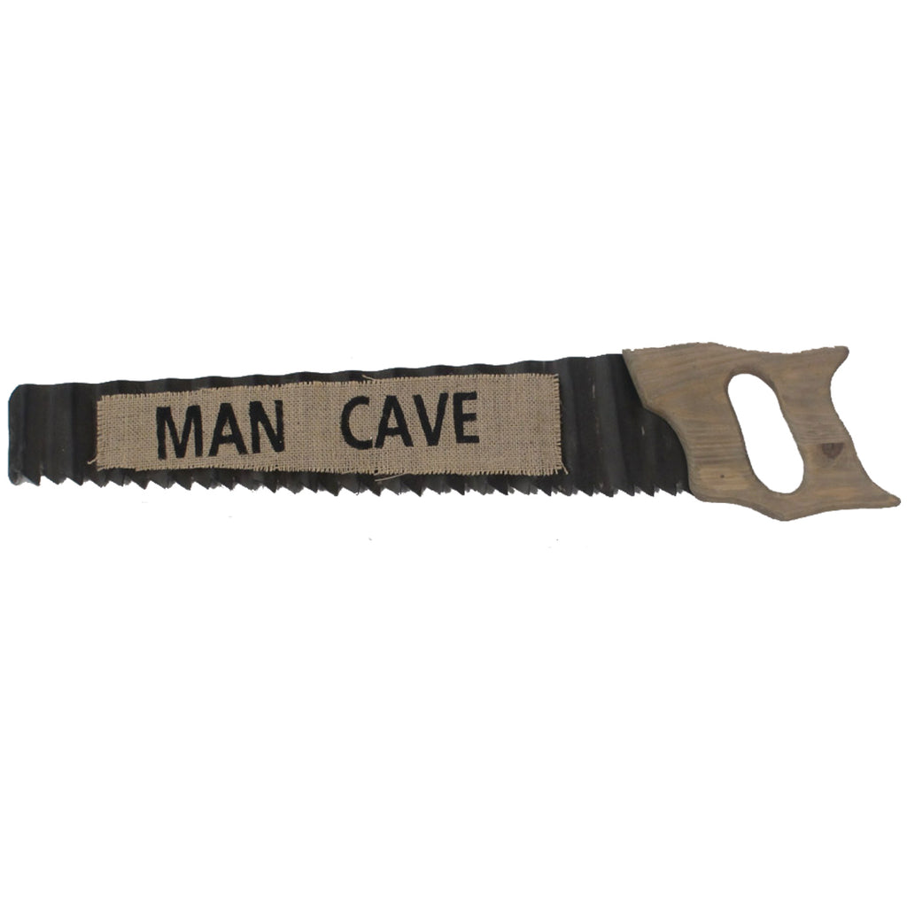 METAL SIGN-MAN CAVE SAW