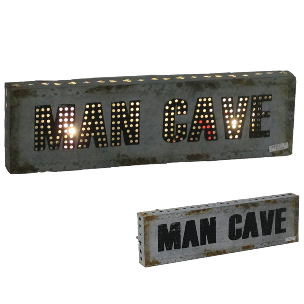 "METAL SIGN-21"" MAN CAVE W/ LIGHTS"