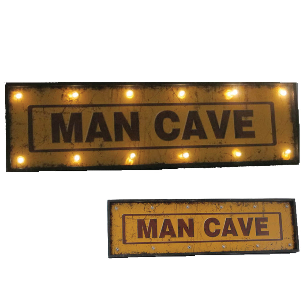"METAL SIGN-48"" MAN CAVE W/ LIGHTS"