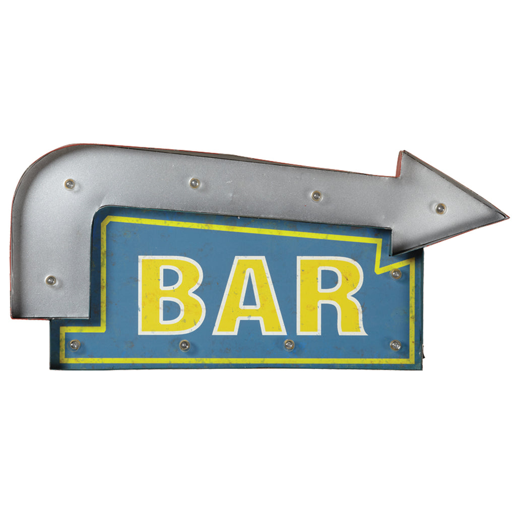 METAL SIGN-BAR ARROW (BLUE/YELLOW)