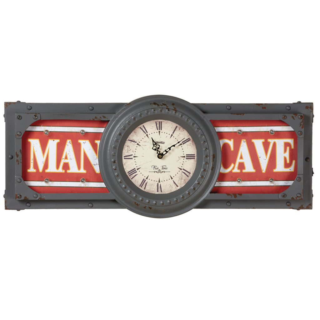 METAL SIGN-MAN CAVE CLOCK