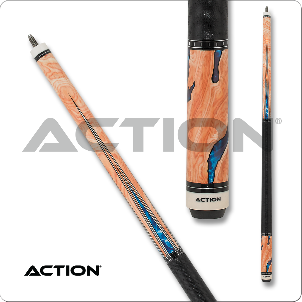 Action Pool Cue - Burl wood overlay with water design ACT153
