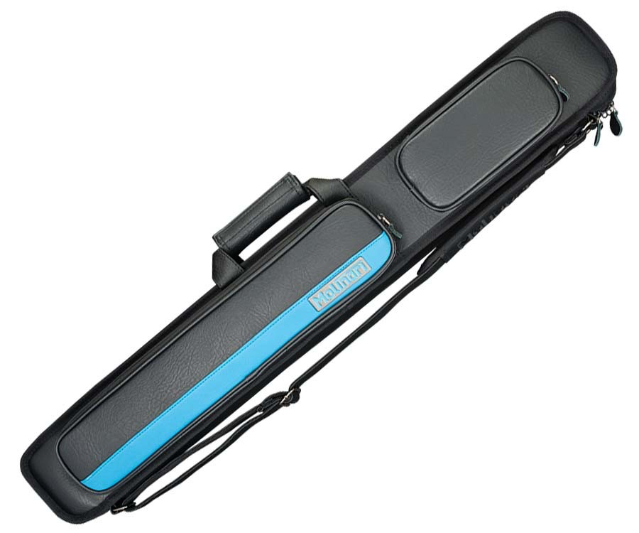 MOLINARI 2 BUTT 4 SHAFT BLACK/CYAN HYBRID CUE CASE