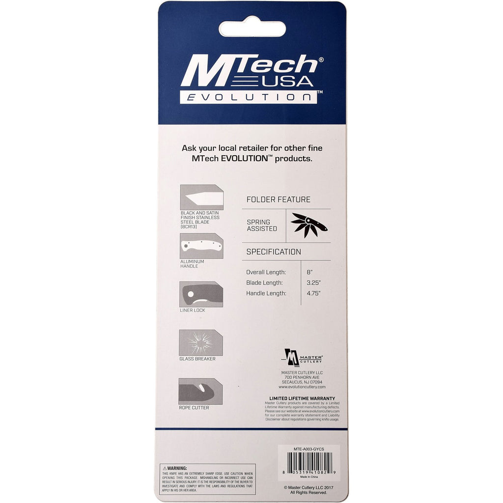MTech Evolution MTE-A003-GY Spring Assisted Knife
